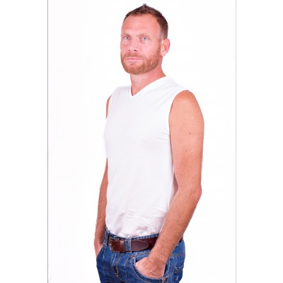 Alan Red Sleeveless Shirt Occident White Two pack