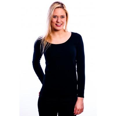 RJ Bodywear Ladies T-Shirt Long Sleeves Black