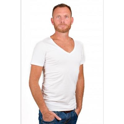 RJ Bodywear Men Deep V Neck T Shirt White.