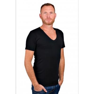 RJ Bodywear Men Deep V Neck T Shirt Black