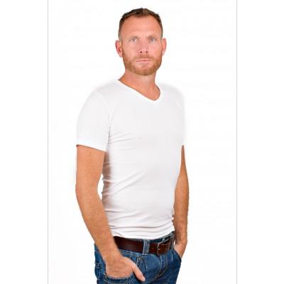 RJ Bodywear Men V Neck T Shirt Pure White