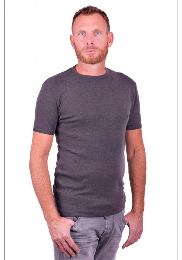 Garage Basic T Shirt Round Neck Dark Grey Semi Bodyfit