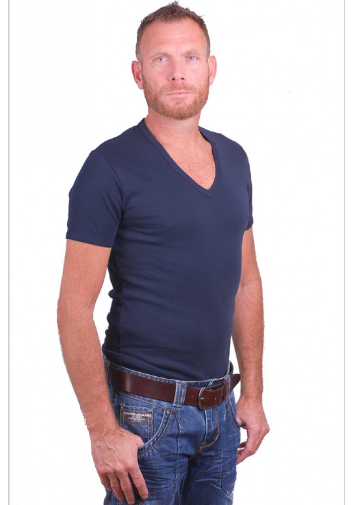 Garage T Shirt Deep V Neck Semi Bodyfit Navy Art 0304
