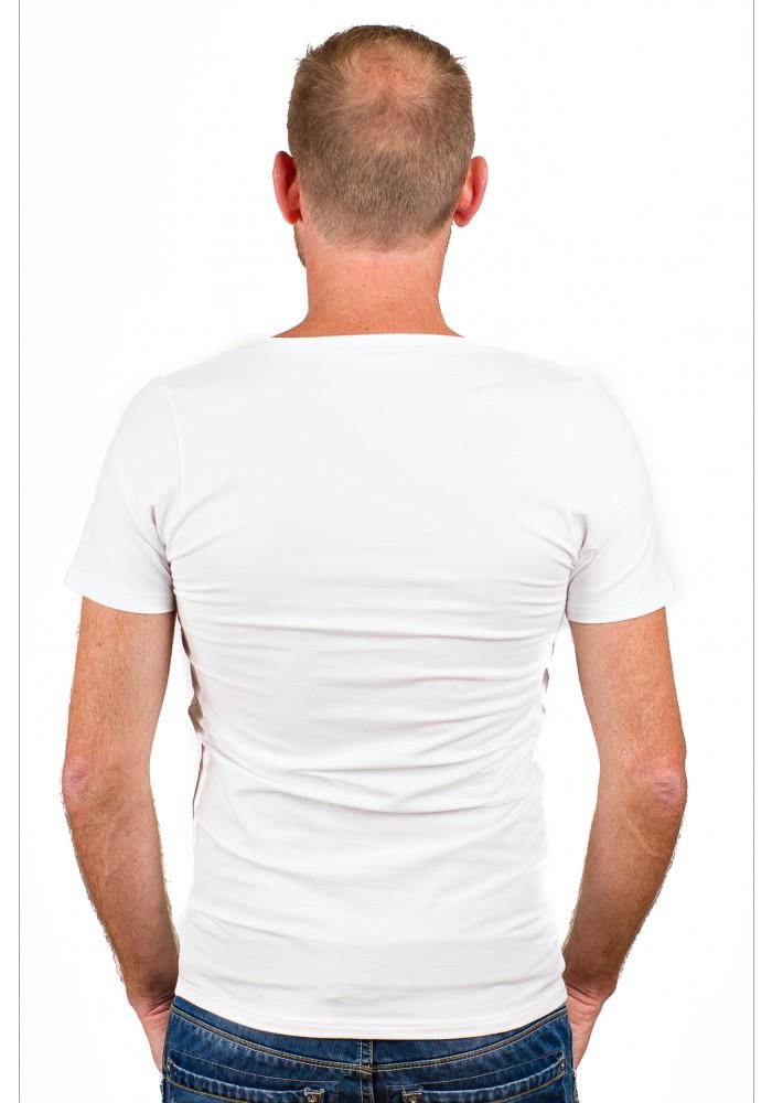 Rj Bodywear Men Deep V Neck T Shirt White