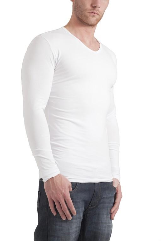 Garage Longsleeve Bodyfit V Neck White Art 0204