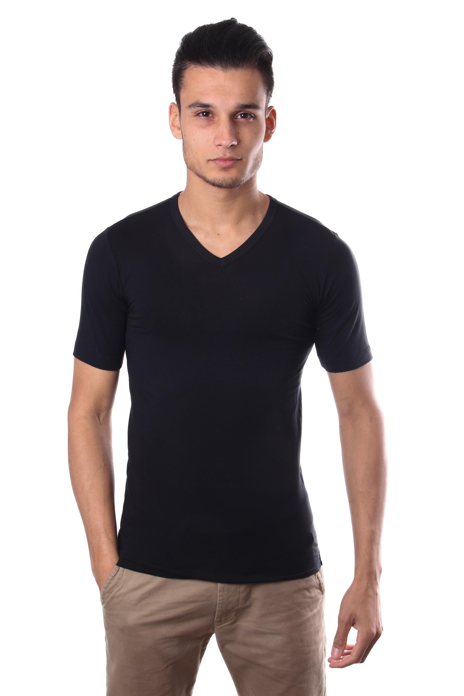 Schiesser men stretch t shirt v neck black for V neck back shirt