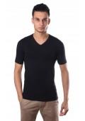 Schiesser Mannen T-Shirt V-Hals Zwart