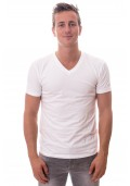 Claesens Stretch T-Shirt Wit V-hals