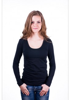 Claesens Women T-shirt o-neck longsleeve Black ( 8016)