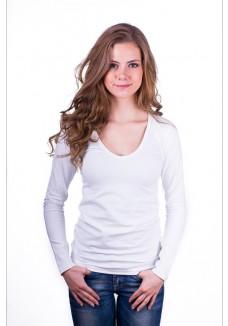 Claesens Women T-Shirt V-Neck l/s White( 8011 )