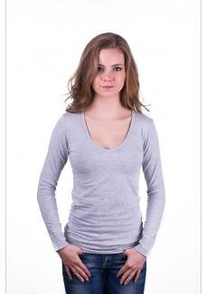 Claesens Women T-Shirt V-Neck l/s Grey ( 8011 )