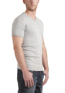 Garage T-Shirt V-neck bodyfit light grey ( stretch)