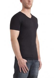Garage T-Shirt V-neck bodyfit black ( stretch)