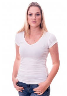 Claesens Women T-Shirt V-hals s/s White( cl 8010 )
