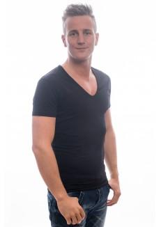 Slater Stretch T-Shirt Deep V-Hals black( two pack )