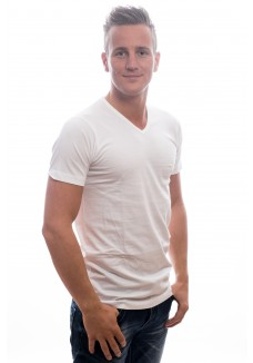 Slater T-Shirt Basic Fit V-neck white EXTRA LONG