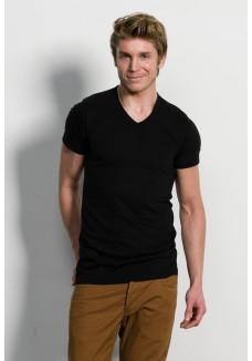 Slater Basic Fit T Shirt V Hals Black