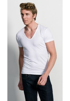 Slater Stretch T-Shirt Deep V-Hals white( two pack )