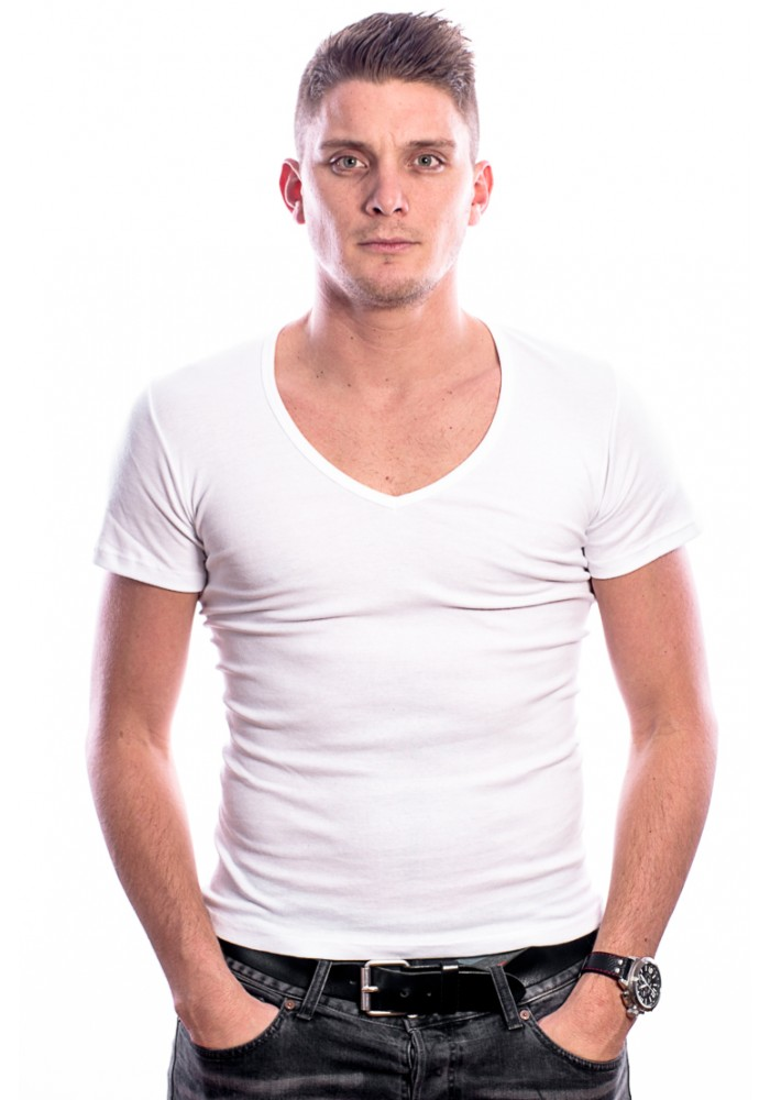 Beeren Men T-Shirt V-Hals Diep Wit