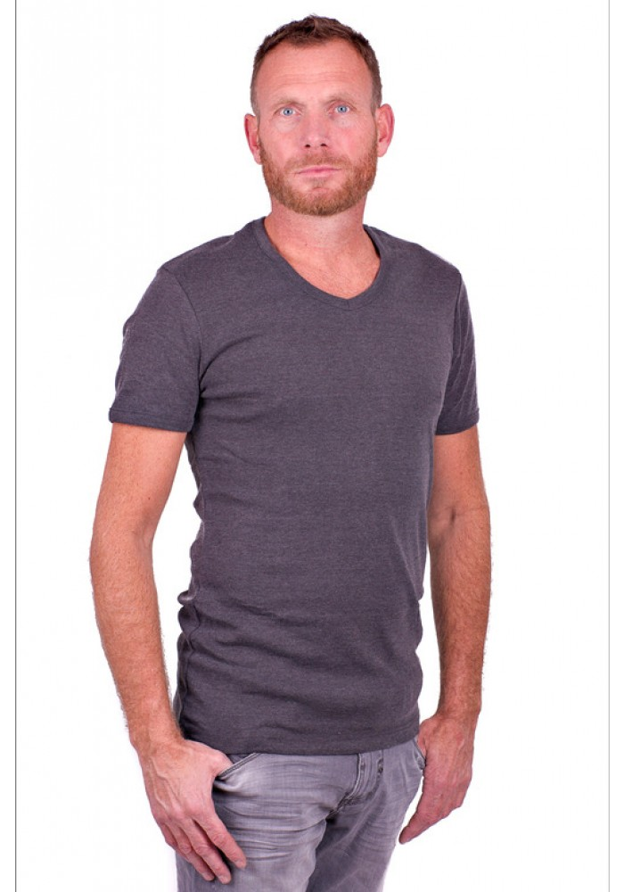Garage Basic T-Shirt V Neck Dark Grey semi bodyfit