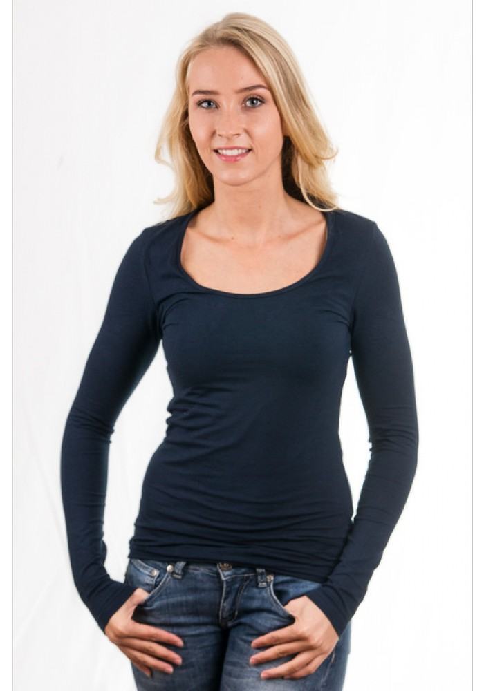 Garage Women Longsleeve T Shirt Round Neck Navy