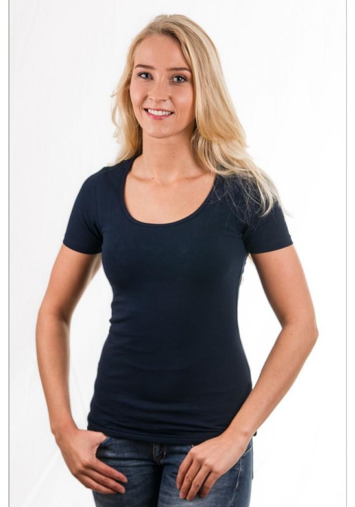 Garage women t shirt round neck navy for Round neck t shirts for ladies