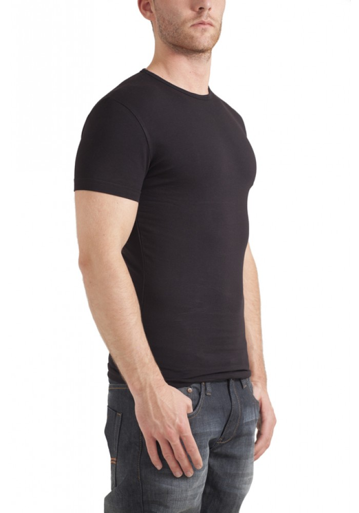 Garage T-shirt round neck bodyfit black ( stretch )