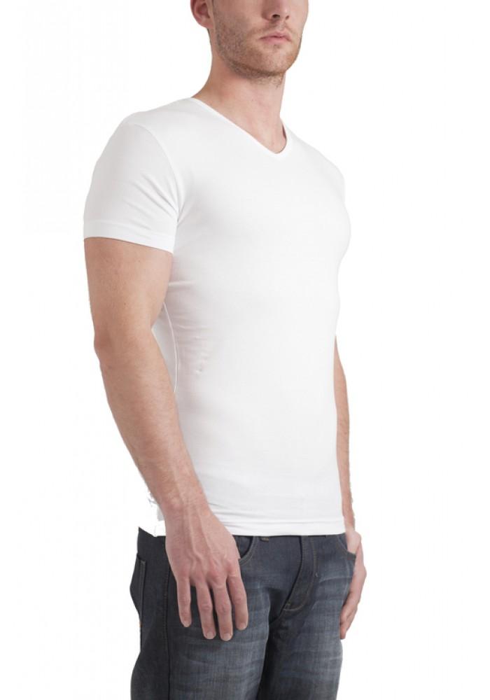 Garage T-Shirt V-neck bodyfit white ( stretch)