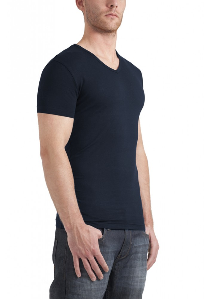 Garage T-Shirt V-neck bodyfit navy ( stretch)