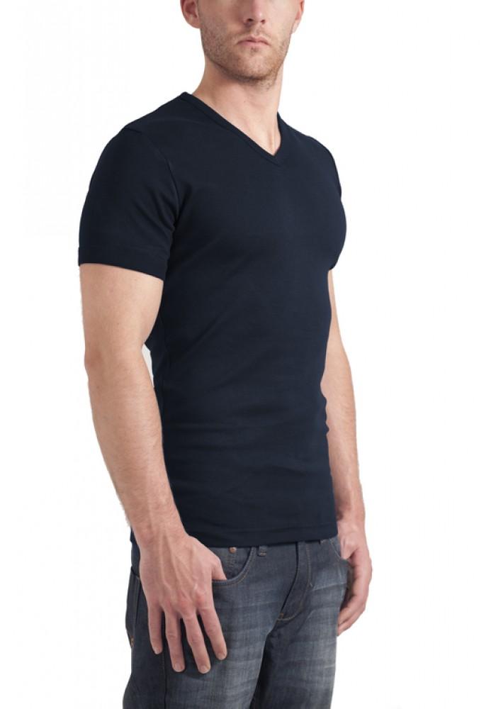 Garage T-Shirt V-neck semi bodyfit navy