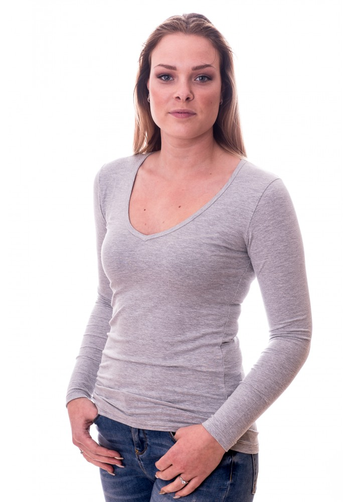 Claesens Women T-Shirt V-Neck l/s Grey ( 8011 )