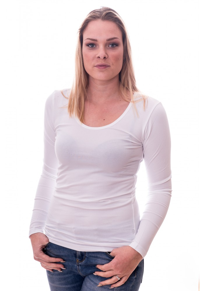 Claesens Women T-shirt o-neck longsleeve White( 8016)