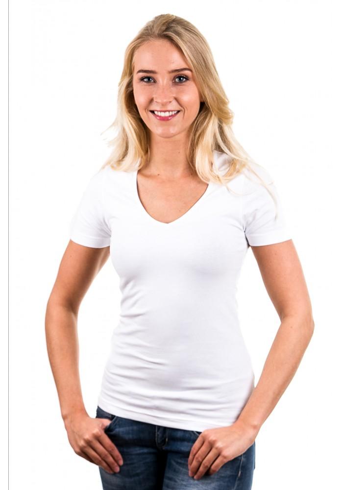 Garage t shirt ladies v neck white art 0702 for Best white t shirt women s v neck