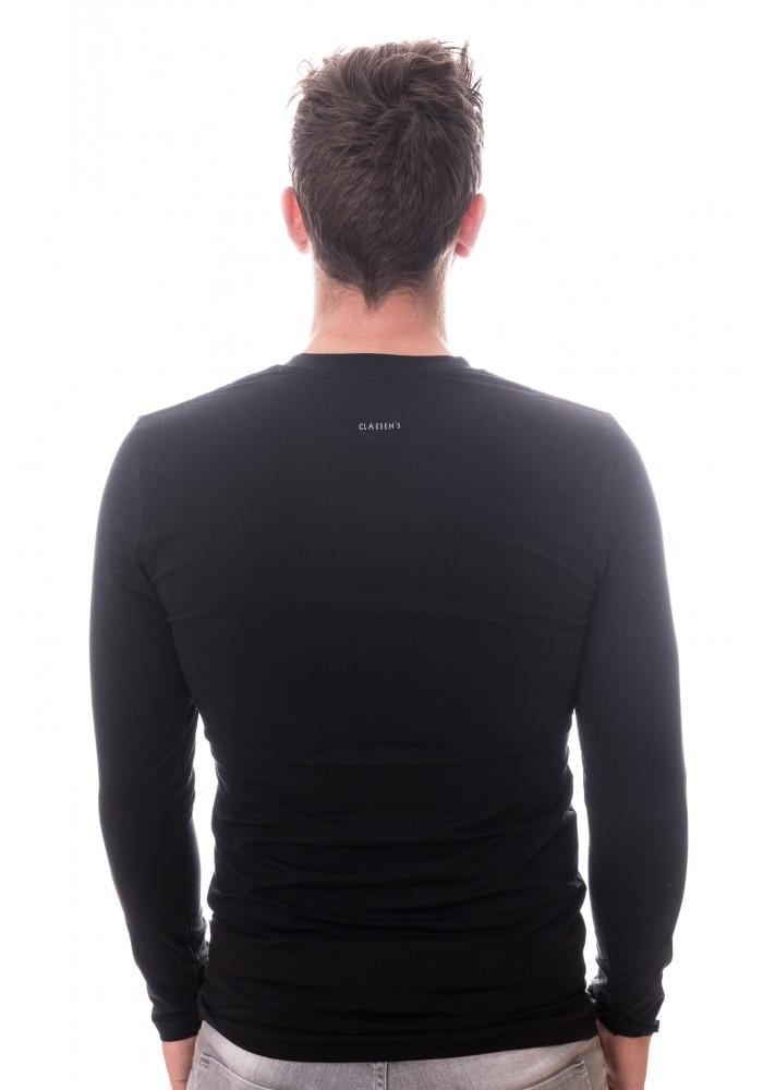 Claesens Men Longsleeve V-neck Black