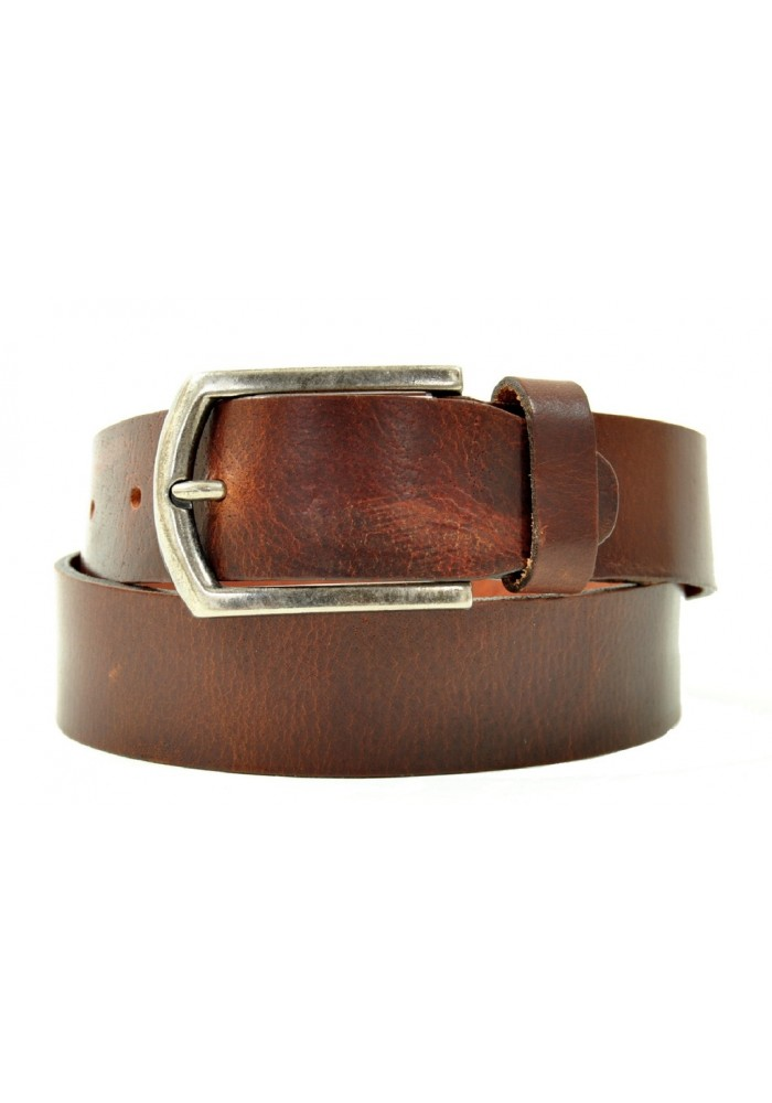 Petrol Leather Jeans Belt Brown