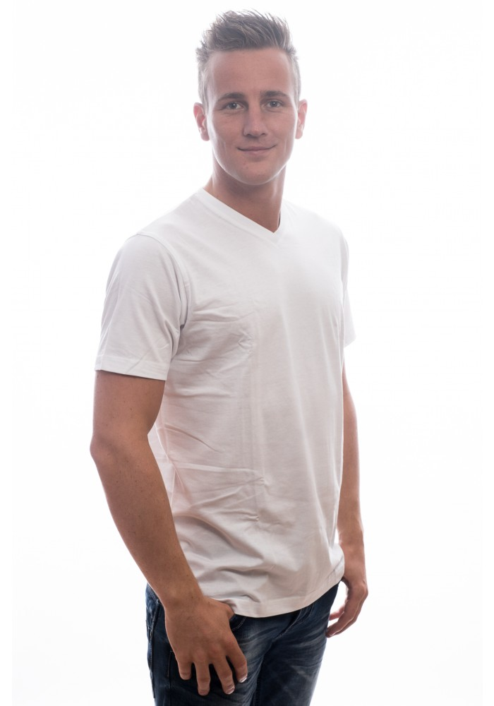 Slater Basic T-Shirt V- neck White