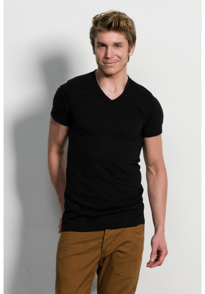 Slater Basic Fit T Shirt V Hals Black